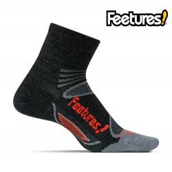 Feetures Elite Merino+ Light Cushion Quarter, charcoal/red