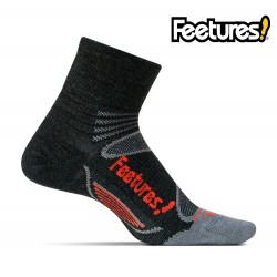 Feetures Elite Merino+ Light Cushion Quarter, charcoal/red