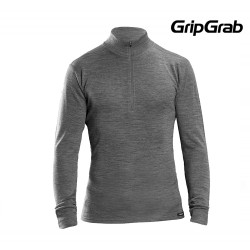 GripGrab Merino Bamboo Zip LS Base Layer, Grey