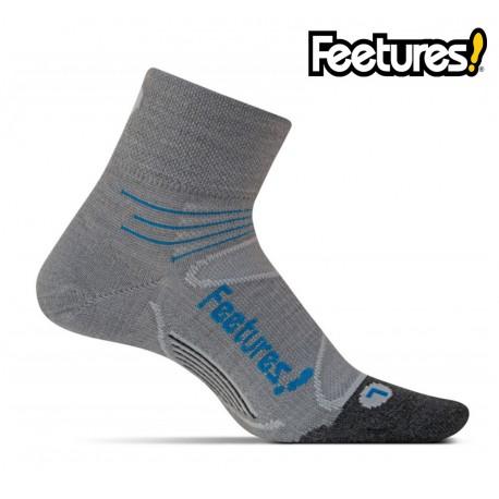 Feetures Elite Merino+ Ultralight Quarter, Gray/Hawaiian Blue